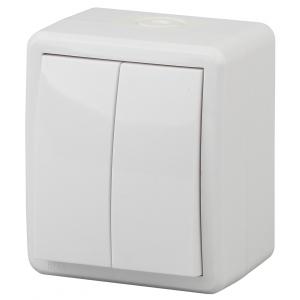 11-1405-01 ЭРА Выключатель двойной с подсветкой IP54, 10АХ-250В, ОУ, Эра Эксперт, белый (16/160/2560