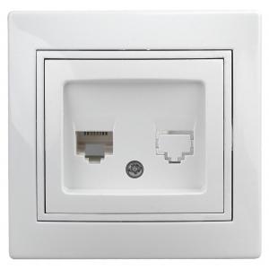 1-303-01 Intro Розетка информационная RJ45, IP20, СУ, Plano, белый (10/200/2400)