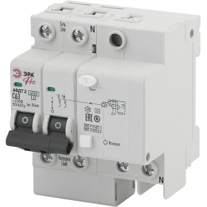 ЭРА Pro Автоматический выключатель дифференциального тока NO-902-141 АВДТ2 C63А  30мА 1P+N тип AC (5