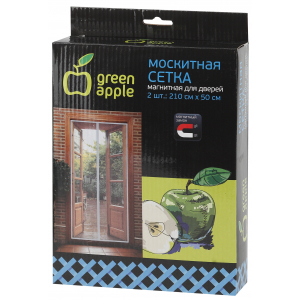 GBN007 GREEN APPLE Магнитная сетка на дверь 2штx210смx50см, магнитный замок, 12шт липучка крепежная,