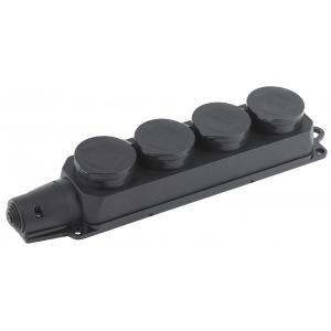 K-4e-IP44  ЭРА Колодка 4гн, c заземл., каучук, IP44 (4/40/480)