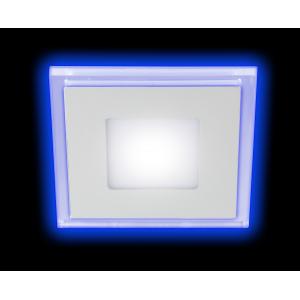 LED 4-6 BL Светильник ЭРА светодиодный квадратный c cиней подсветкой LED 6W 220V 4000K (40/960)