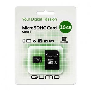 QUMO Micro SDHC 16 Gb Class 4 + adapt (400)