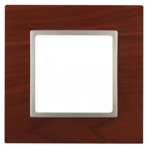 14-5301-08 ЭРА Рамка на 1 пост, дерево, Эра Elegance, вишня+шамп (10/50/1500)