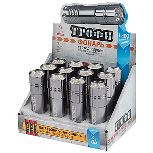 TM9-box12 Фонарь Трофи 9xLED, алюм, 3хААА в комплекте, промо-бокс (48/240/5280)