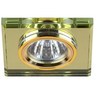 DK8 GD/YL Светильник ЭРА декор стекло квадрат MR16,12V/220V, 50W, золото/зеркальный желтый (50)