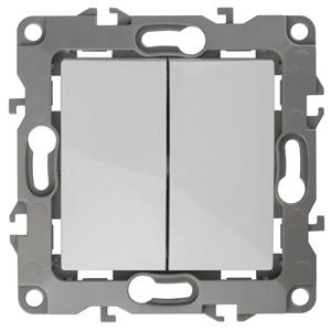 12-1104-01 ЭРА Выключатель двойной, 10АХ-250В, IP20, Эра12, белый (10/100/3200)