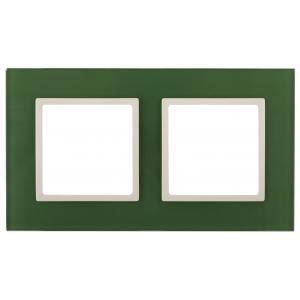 14-5102-27 ЭРА Рамка на 2 поста, стекло, Эра Elegance, зелёный+сл.кость (5/50/1200)