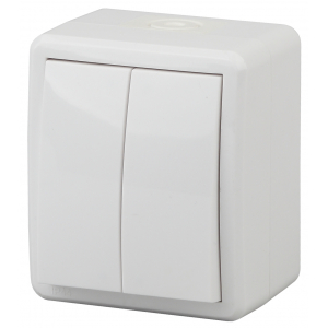 11-1404-01 ЭРА Выключатель двойной IP54, 10АХ-250В, ОУ, Эра Эксперт, белый (16/160/2560)