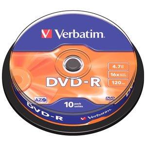 43523 Verbatim DVD-R 4.7Gb, 16x Cake (10)* (10/200/10000)