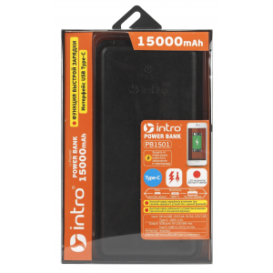 PB1501 USB зарядки_25 Intro Power Bank 15 000 mAh, type-C, black leather (19/1368)