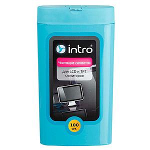 Intro Чистящие салфетки д/ МОНИТОРОВ LCD TFT, 100 шт (большая туба) (12/864)
