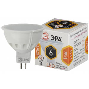 LED MR16-6W-827-GU5.3 ЭРА (диод, софит, 6Вт, тепл, GU5.3) (10/100/4000)