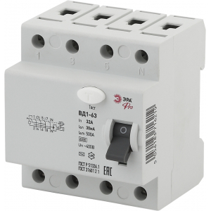 ЭРА Pro Устройство защитного отключения NO-902-40 УЗО ВД1-63 3P+N 32А 30мА (45/945)